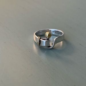 Tiffany sterling silver and gold ring